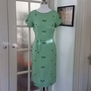 Vintage Mint Green Day Dress w/ embroidery detail